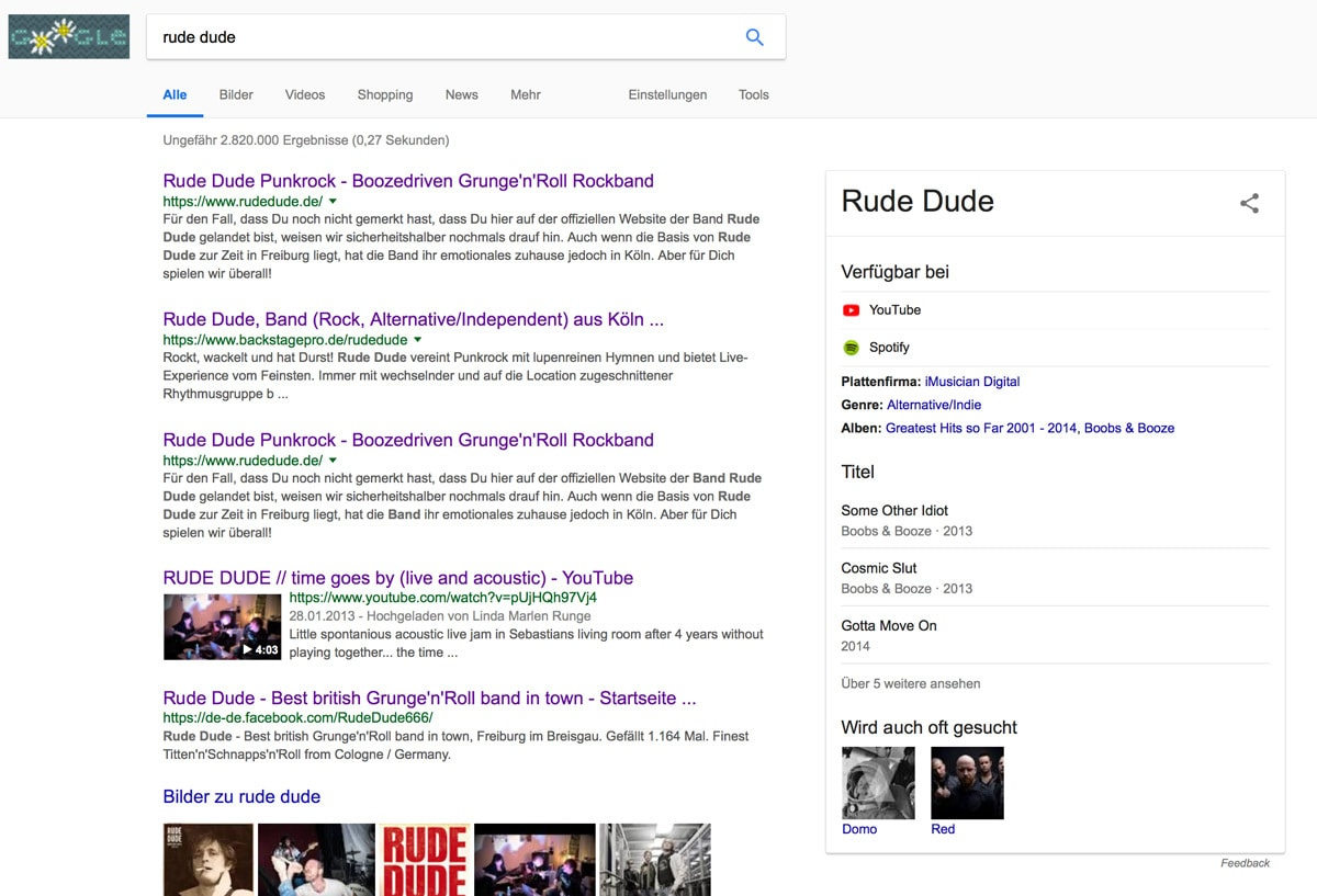 Rude Dude Artist Eintrag bei Google.de - Fotomanipulation by Rude Dude Media Center